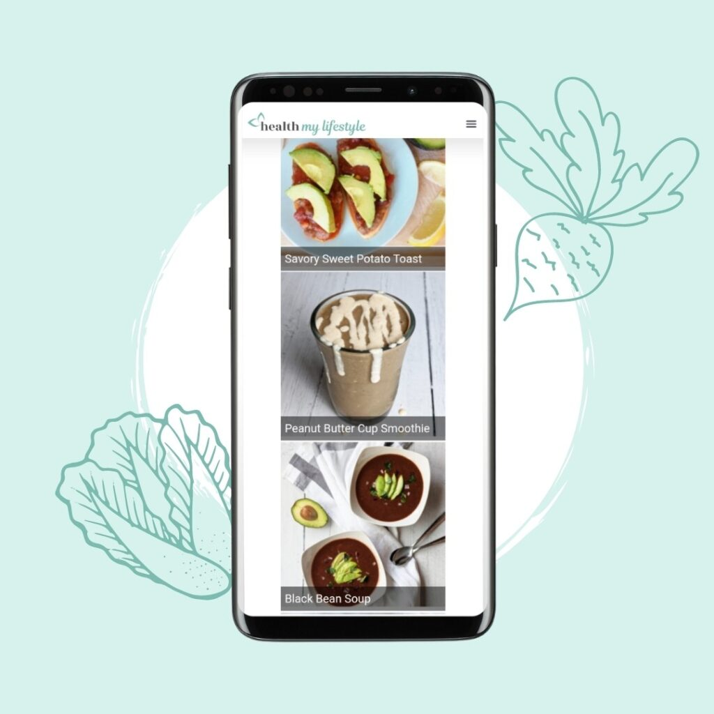 Pictures of meals inside the Meal Planner on a mobile phone